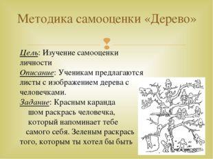 Методика самооценки «Дерево» Цель: Изучение самооценки личности Описание: Уче
