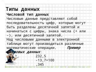 Типы данных Числовой тип данных Числовые данные представляют собой последоват