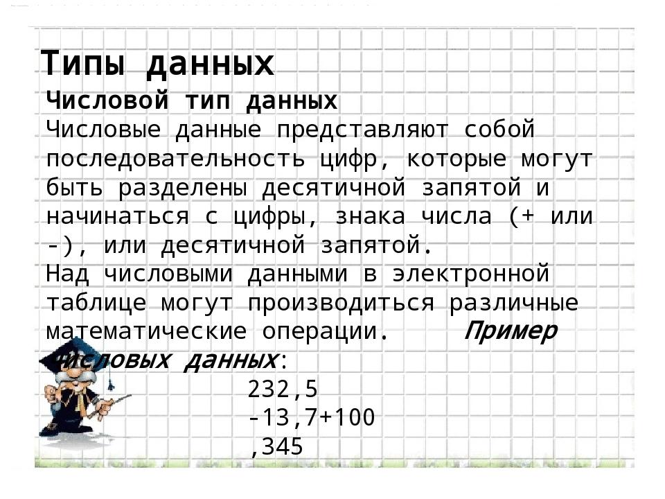 Типы данных Числовой тип данных Числовые данные представляют собой последоват...