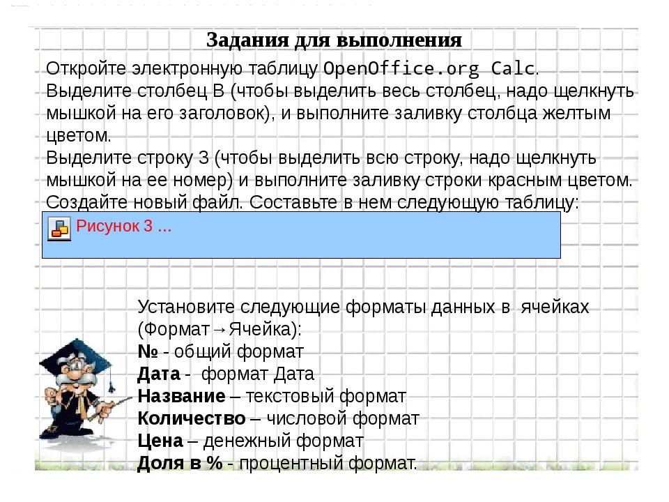 Задания для выполнения Откройте электронную таблицу OpenOffice.org Calc. Выде...