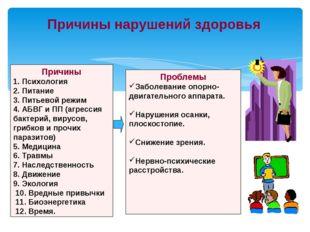 Причины нарушений здоровья Причины 1. Психология 2. Питание 3. Питьевой режим