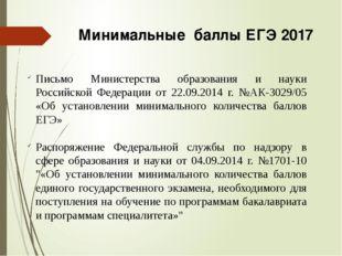 Минимальные баллы ЕГЭ 2017 Письмо Министерства образования и науки Российской
