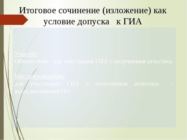Итоговое сочинение (изложение) как условие допуска к ГИА Участие: Обязательн...