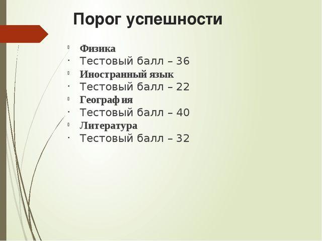 Порог успешности Физика Тестовый балл – 36 Иностранный язык Тестовый балл – 2...