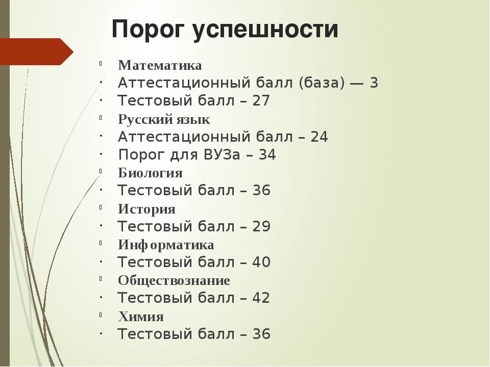 Порог успешности Математика Аттестационный балл (база) — 3 Тестовый балл – 27...