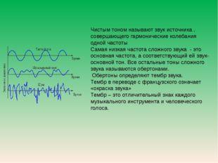 Чистым тоном называют звук источника , совершающего гармонические колебания о