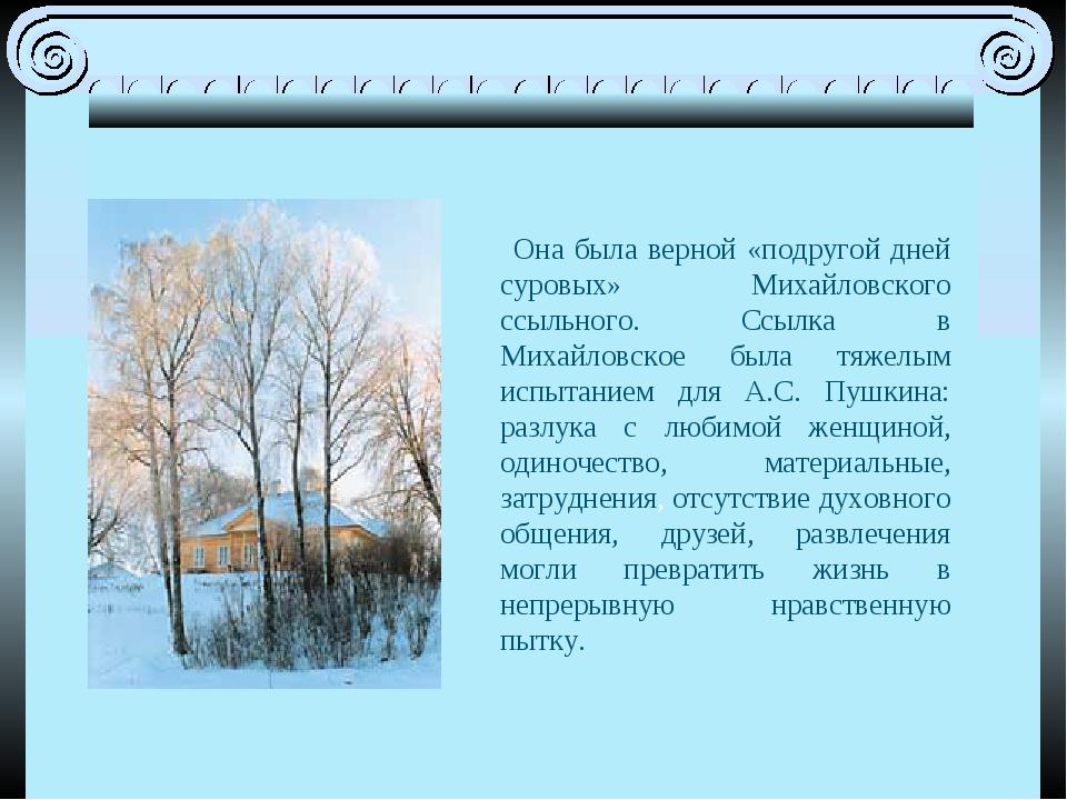 Она была верной «подругой дней суровых» Михайловского ссыльного. Ссылка в Ми...