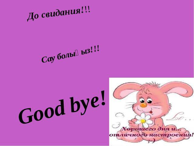 До свидания!!! Сау болыңыз!!! Good bye!