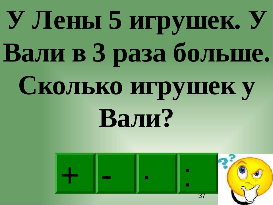 · - : + У Лены 5 игрушек. У Вали в 3 раза больше. Сколько игрушек у Вали?