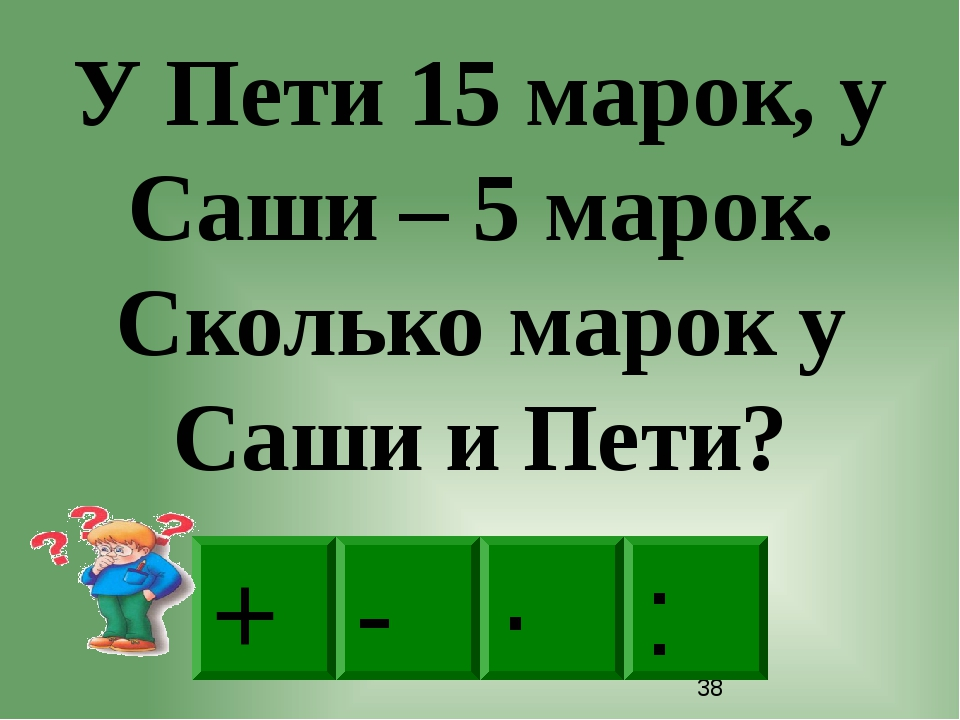 + · : - У Пети 15 марок, у Саши – 5 марок. Сколько марок у Саши и Пети?