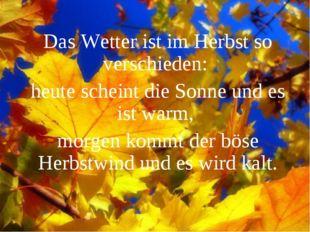 Das Wetter ist im Herbst so verschieden: heute scheint die Sonne und es ist w
