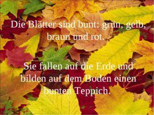 Die Blätter sind bunt: grün, gelb, braun und rot. Sie fallen auf die Erde und
