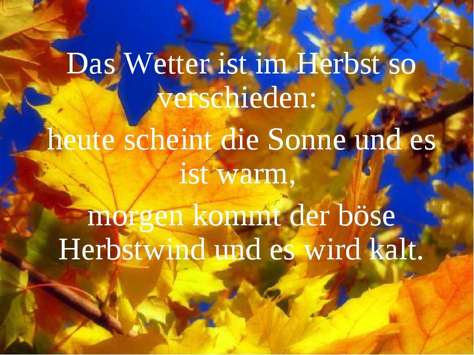 Das Wetter ist im Herbst so verschieden: heute scheint die Sonne und es ist w...
