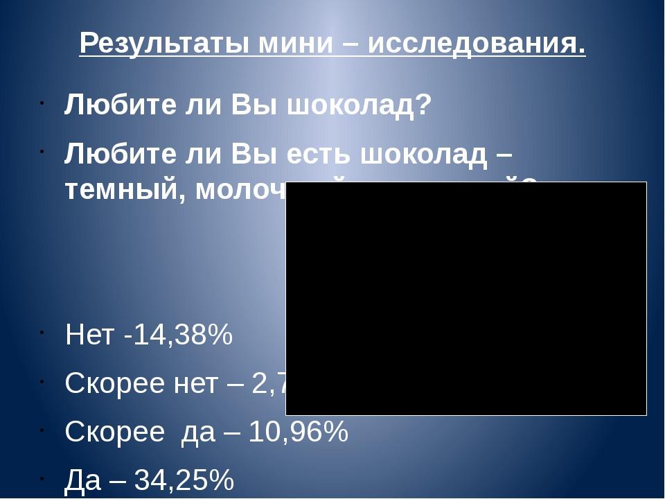 Результаты мини – исследования. Любите ли Вы шоколад? Любите ли Вы есть шокол...