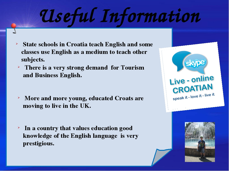 Useful Information Chinese children start studying English at the age of 8....