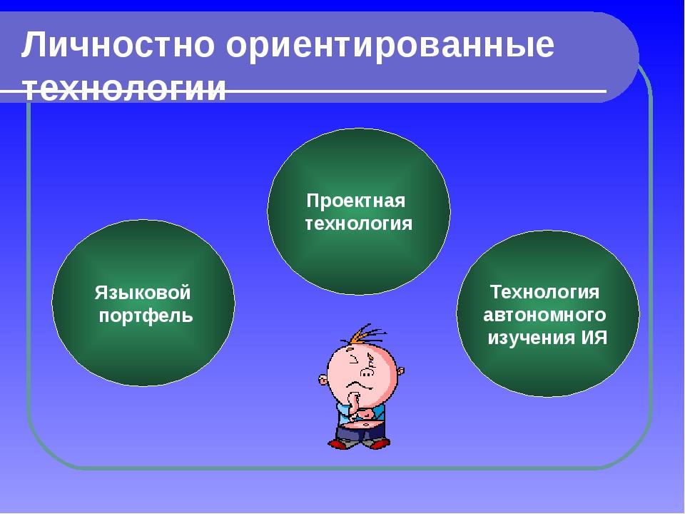 Личностно ориентированные технологии Языковой портфель Проектная технология Т...