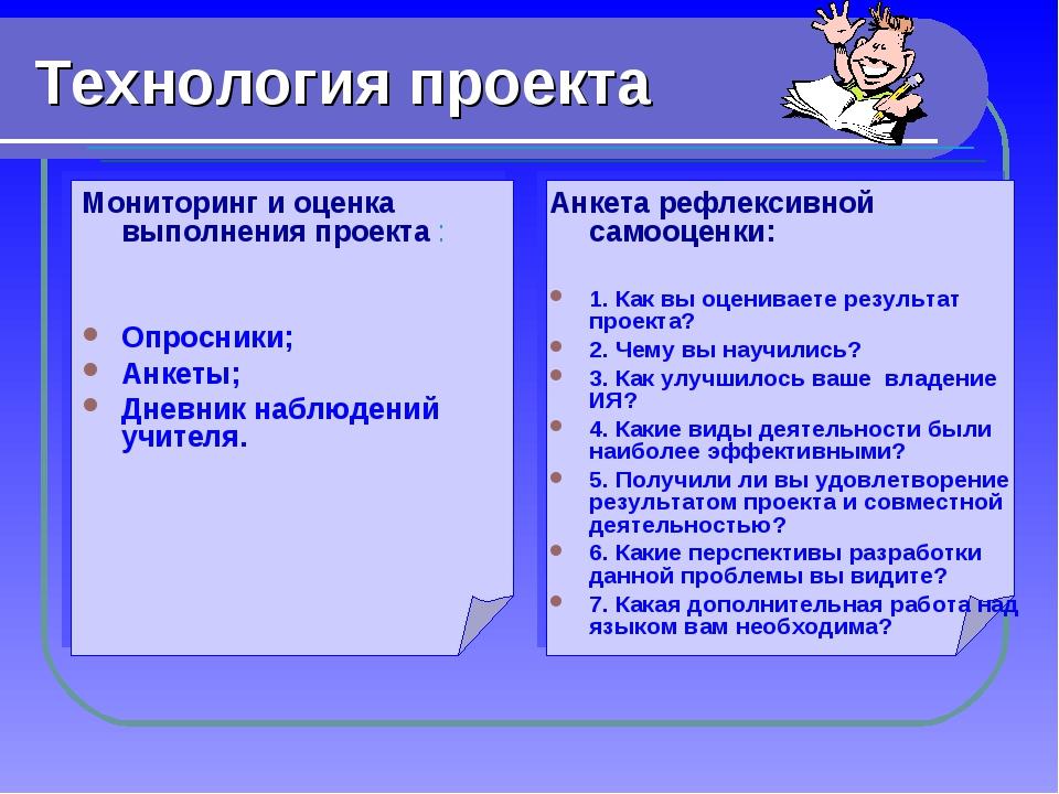 Технология проекта Мониторинг и оценка выполнения проекта : Опросники; Анкеты...