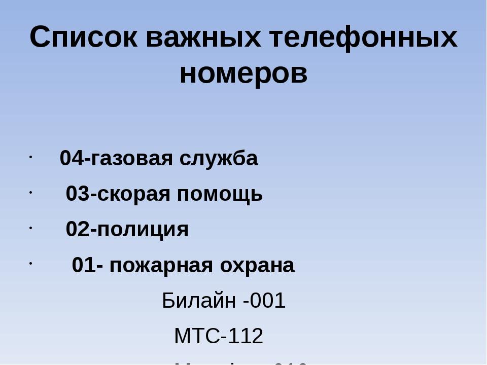 Список важных телефонных номеров 04-газовая служба 03-скорая помощь 02-полици...
