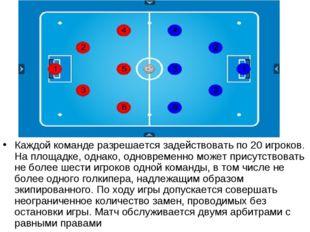Каждой команде разрешается задействовать по 20 игроков. На площадке, однако,
