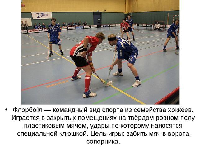 Флорбо́л — командный вид спорта из семейства хоккеев. Играется в закрытых пом...