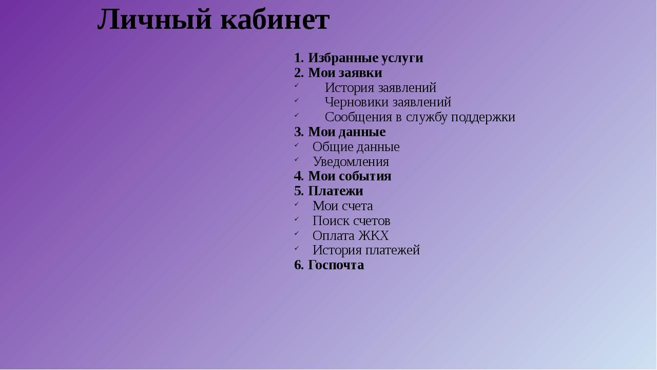 Личный кабинет 1. Избранные услуги 2. Мои заявки История заявлений Черновики...