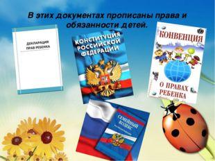 В этих документах прописаны права и обязанности детей.