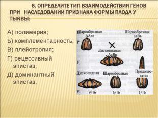 А) полимерия; Б) комплементарность; В) плейотропия; Г) рецессивный эпистаз; Д