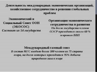 Деятельность международных экономических организаций, хозяйственное сотруднич