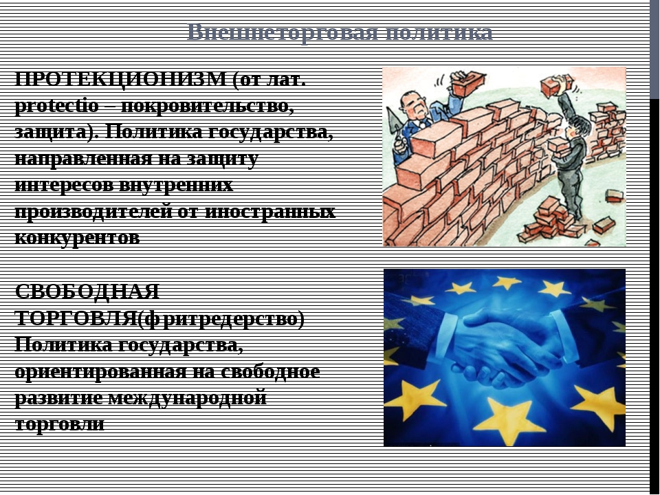 Внешнеторговая политика ПРОТЕКЦИОНИЗМ (от лат. protectio – покровительство, з...
