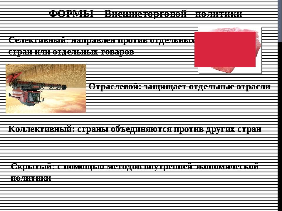 ФОРМЫ Внешнеторговой политики Селективный: направлен против отдельных стран и...