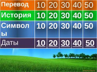 Перевод 10 20 30 40 50 История 10 20 30 40 50 Символы 10 20 30 40 50 Даты 10
