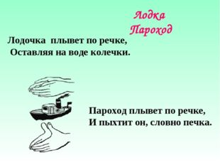 Лодка Пароход Лодочка плывет по речке, Оставляя на воде колечки. Пароход плыв