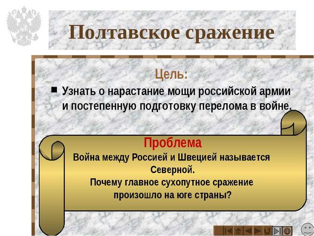 Полтавское сражение Цель: Узнать о нарастание мощи российской армии и постепе...