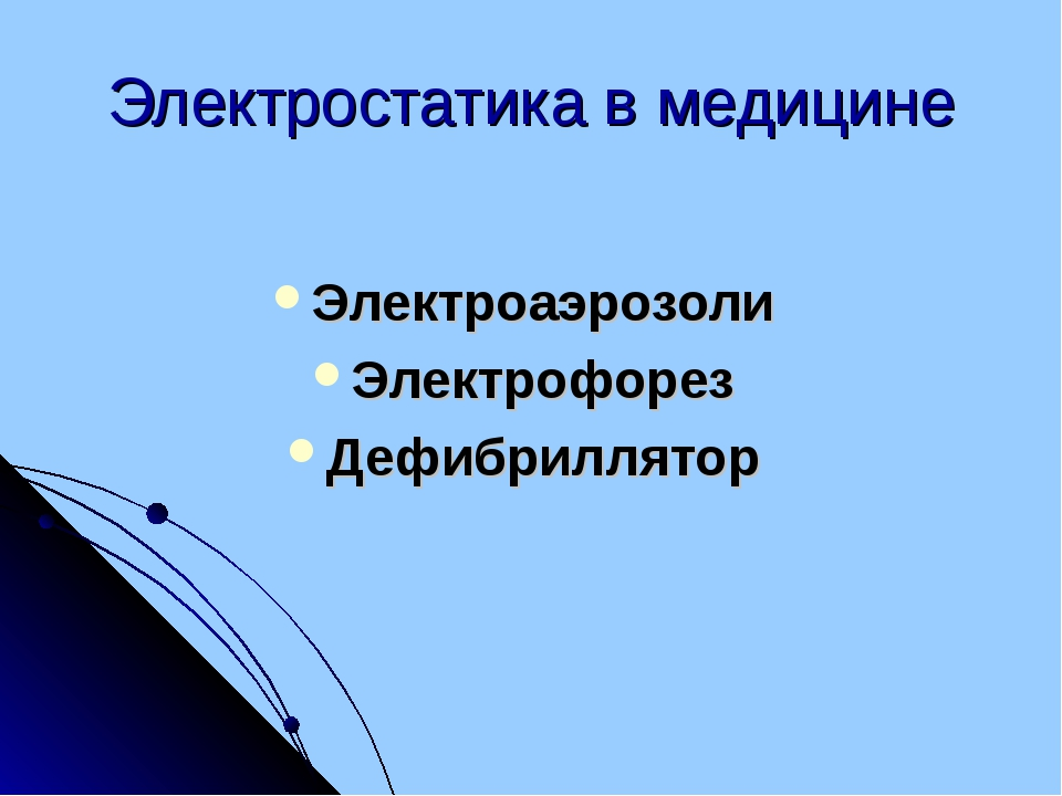 Электростатика в медицине Электроаэрозоли Электрофорез Дефибриллятор