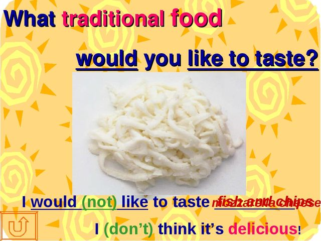 What traditional food would you like to taste? I would (not) like to taste __...
