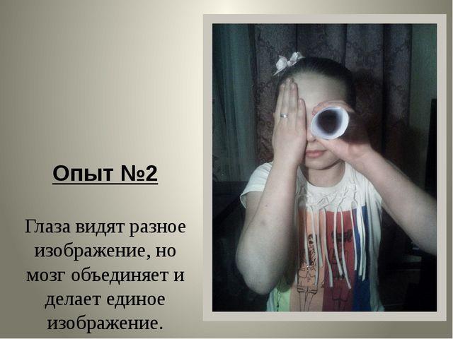 Опыт №2 Глаза видят разное изображение, но мозг объединяет и делает единое и...