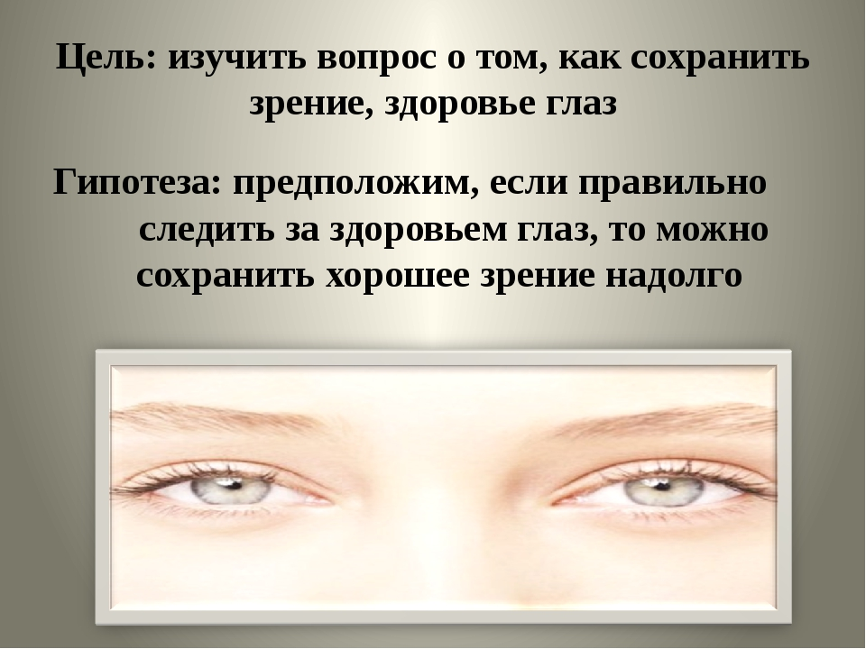 Цель: изучить вопрос о том, как сохранить зрение, здоровье глаз Гипотеза: пре...