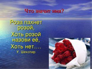 Что значит имя? Роза пахнет розой, Хоть розой назови её, Хоть нет…. У. Шекспир