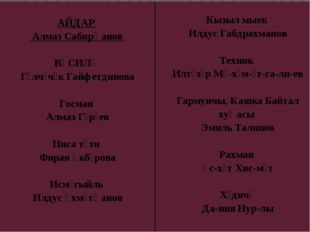 АЙДАР АлмазСабирҗанов ВӘСИЛӘ ГөлчәчәкГайфетдинова Госман АлмазГәрәев Нисатү
