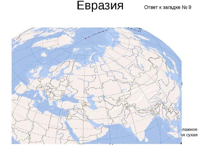 Евразия Субэкваториальный Субтропический пояс Тропический пояс Жаркое и влажн...