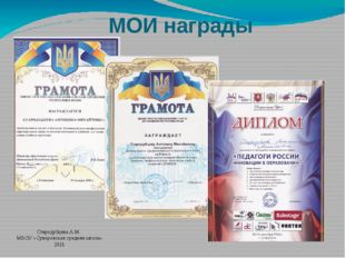 МОИ награды Стародубцева А.М. МБОУ «Суворовская средняя школа» 2015
