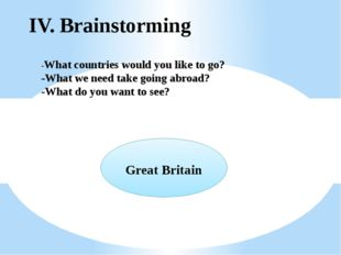 IV. Brainstorming -What countries would you like to go? -What we need take go