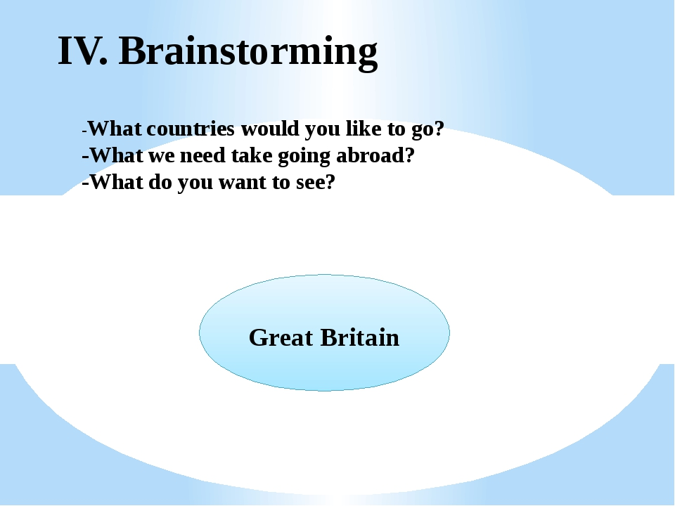 IV. Brainstorming -What countries would you like to go? -What we need take go...
