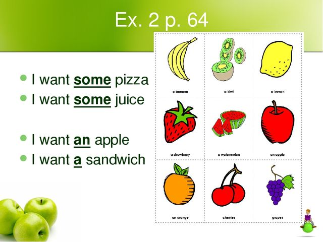 Ex. 2 p. 64 I want some pizza I want some juice I want an apple I want a sand...
