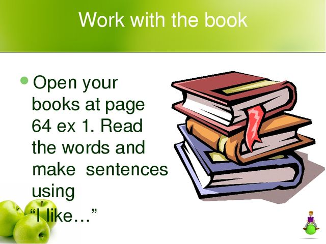 Work with the book Open your books at page 64 ex 1. Read the words and make s...