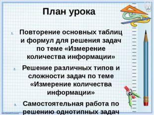План урока Повторение основных таблиц и формул для решения задач по теме «Изм