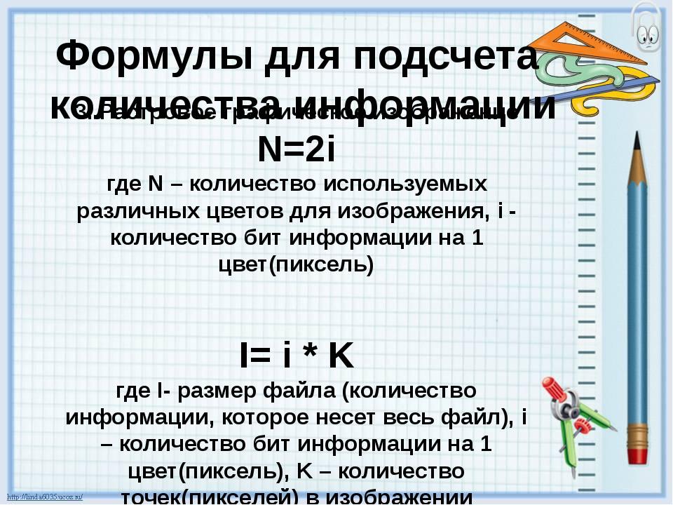 Формулы для подсчета количества информации 3. Растровое графическое изображен...