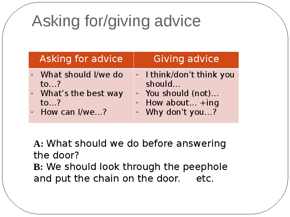 Asking for/giving advice A: What should we do before answering the door? B: W...