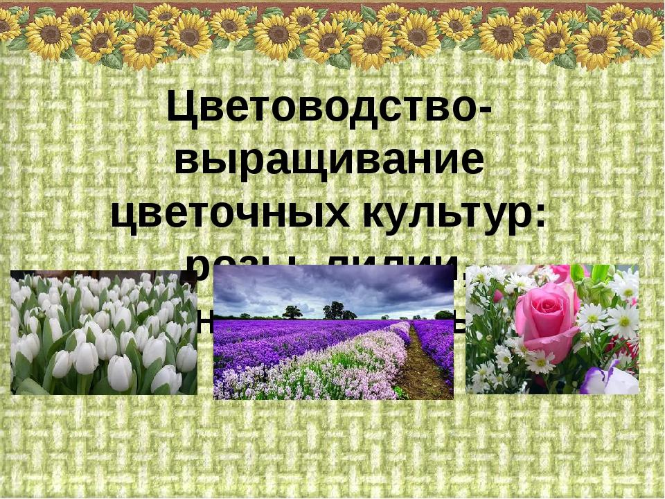 Цветоводство- выращивание цветочных культур: розы, лилии, хризантемы, тюльпан...