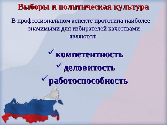 Выборы и политическая культура В профессиональном аспекте прототипа наиболее...